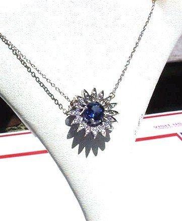 DIAMONDS & SAPPHIRE PENDANT Vintage 1950's