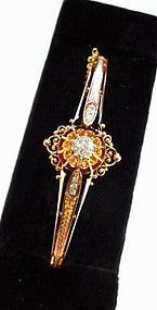 ANTIQUE ROSE GOLD & DIAMOND BANGLE BRACELET Ca. 1900