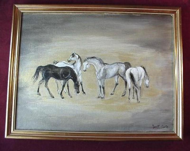 OIL PAINTING On CANVAS ...5 HORSES