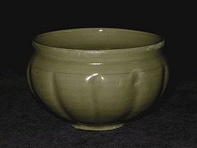 Song Dynasty - Yaozhou Celadon Melon Shaped Bowl