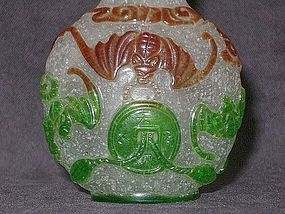 Qing Dynasty - Peking Glass Wufu Motif Snuff Bottle