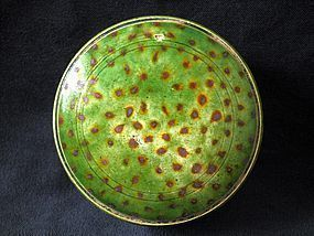 TANG DYNASTY - SMALL GREEN GLAZED SANCAI COVERED BOX
