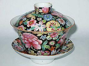 Famille Noir Mille Fleurs (Thousand Flowers) Teacup