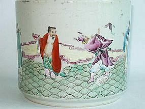 Famille Rose Brush Pot with Eight Immortals Motif