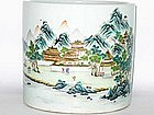 Qing Dynasty - Famille Rose Tranquil Scene Brush Pot