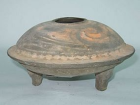 Han Dynasty - Painted Funerary Pottery Tripod Censer