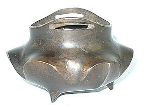 Qing Dynasty  -  Lotus Shaped Bronze Censer