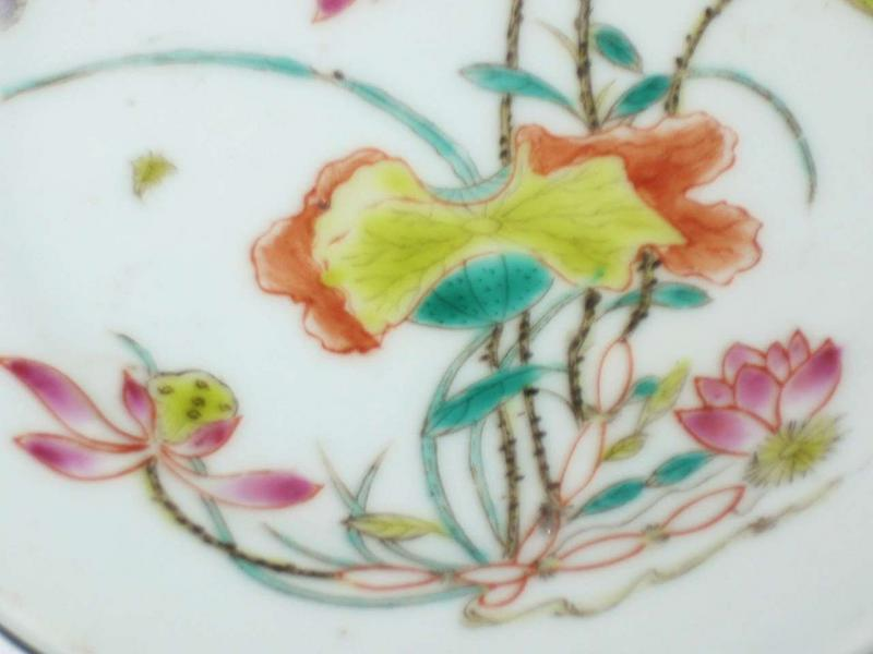Early Republic  �  Pair of Lotus Flower Painting Saucer