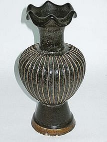 Song - Jin Dynasty: Black Glazed Ribbed Vase