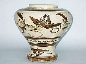 Yuan Dynasty � Cizhou Wine Jar With Lotus Flower