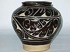 Yuan Dynasty � Carved Cizhou Glazed Stoneware Wine Jar