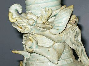 Song Dynasty - Qingbai Appliqué Dragon Funerary Vase