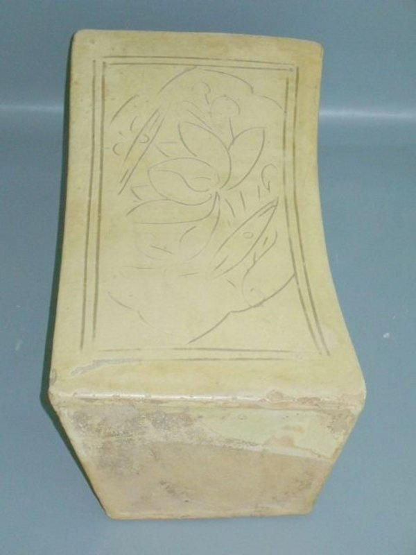 Song Dynasty - Cizhou Glazed Pillow With Incised Lotus