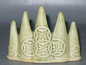 Qing Dynasty - Green Glazed Mountain Brush Rest