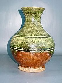 Han Dynasty - Green and Amber Glazed Funerary Vase