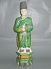 Ming Dynasty - Large Funerary Green Glazed Attendant