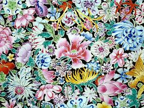 Qing Dynasty - Famille Noir Mille Fleurs Plate