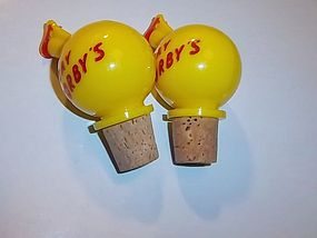 Vintage corbys yellow and red bottle stoppers