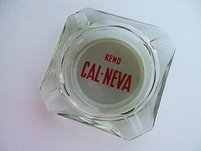 Vintage Reno Cal Neva Ashtray Green Glass Vintage Logo