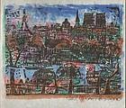 Munakata Shiko 1983 Calendar Print - View of Paris
