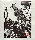 Munakata Shiko Japanese Lithograph - Rock Hawk SOLD