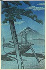 Kawase Hasui Japanese Woodblock Print - Miho at Night