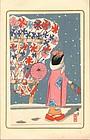 Uchima Toshiko Japanese Woodblock Print - Girl In Snow RESERVED