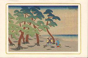 Tasaburo Takahashi Japanese Woodblock Print - Beach