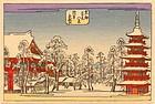 Hiroshige Japanese Woodblock Print - Temple in Snow