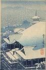 Kawase Hasui Woodblock Print - Kiyomizu Snow SOLD