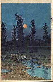 Kawase Hasui Japanese Woodblock Print - Horse SOLD