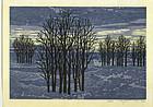 Fumio Fujita Woodblock Print - Trees 1972 SOLD