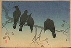 Takahashi Shotei Woodblock - Crows on a Cold Night (2)