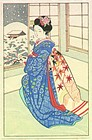 Japanese Woodblock Print - Bijin by Window - Snow