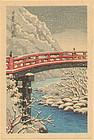 Hasui Japanese Woodblock Print - Sacred Bridge 1930s SOLD