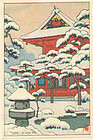 Toshi Yoshida  Woodblock Print - Snowy Temple SOLD