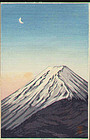 Shien Japanese Woodblock Print - Fuji and Moon