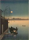 Eijiro Japanese Woodblock Print - Hasegawa Night Scenes Sumida