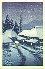 Kawase Hasui Woodblock Print - Evening Snow