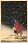 Kikuchi Yuichi Woodblock Print - Walk in Snow SOLD