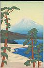 Shien Japanese Woodblock Print - Fuji and Lake