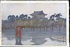 Hiroshi Yoshida Woodblock Edo Castle jizuri SOLD