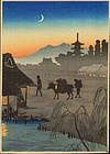Takahashi Shotei Japanese Woodblock Print - Returning SOLD