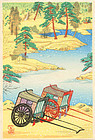Shien Japanese Woodblock Print - Carriages