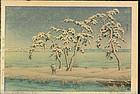Kawase Hasui Woodblock Print - Snow at Hinuma SOLD