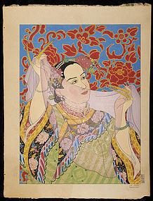 Paul Jacoulet Japanese Woodblock Print - Les Perles SOLD