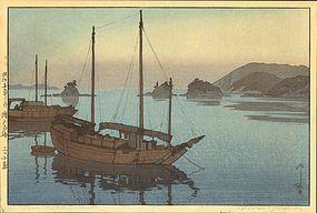 Hiroshi Yoshida Woodblock Print - Three Islands SOLD