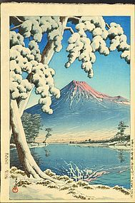 Hasui Kawase Woodblock Print - Mt. Fuji after Snow SOLD