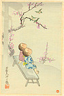 Japanese Woodblock Print - Children on Bench