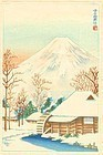 Japanese Woodblock Print - Mt. Fuji and Snowy Cottage